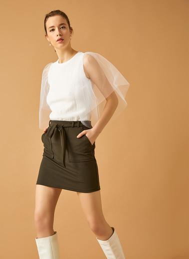 Koton Tül Detayli T-Shirt Beyaz